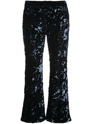 Alexis Sequined Cropped Trousers Blue