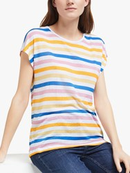 John Lewis Collection Weekend By Cap Sleeve Stripe Linen T Shirt Multi