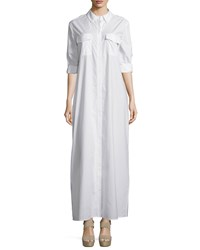 Equipment Major Button Front Maxi Dress Bright White Women's Pebble