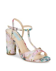 Betsey Johnson Luisa High Heel T Strap Sandals Floral Multi