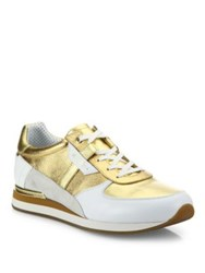 Dolce And Gabbana Colorblock Active Runner Sneakers Gold Blue