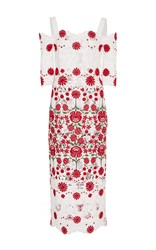 Naeem Khan Open Shoulder Cocktail Dress Floral