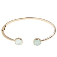 John Lewis Gemstones 18Ct Gold Plated Hinged Cuff Bangle Chalcedony