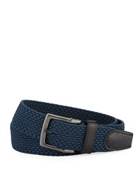 Nike Stretch Woven Leather Trim Belt Navy