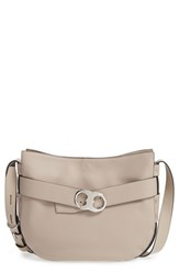 Tory Burch 'Gemini' Belted Leather Hobo Grey French Grey