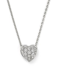 Roberto Coin 18K White Gold Heart Pendant Necklace With Pave Diamonds 18