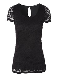 Jane Norman Lace Scalloped T Shirt Black