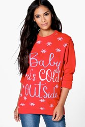 Boohoo Bridgette Baby It's Cold Outside Christmas Jumper Red