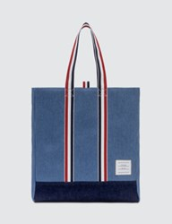 Thom Browne Unstructured Tote In Washed Denim