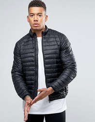 Asos Quilted Jacket With Funnel Neck In Black Black