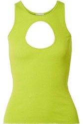 Vetements Neon Cutout Ribbed Stretch Cotton Tank Green