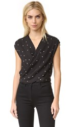 L'agence T Lee Cross Front Blouse Black Ivory