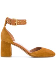 Red Valentino Studded Buckle Pumps Leather Suede Brown
