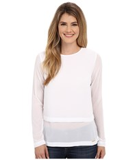 Michael Michael Kors Long Sleeve Double Layer Short Sleeve Top White Women's Blouse