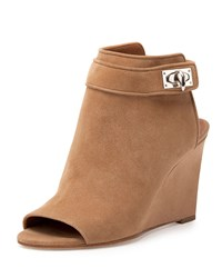 Suede Shark Lock Peep Toe Wedge Bootie Givenchy Beige