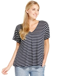 Studio M Linen Blend Striped High Low Tee Dark Navy White
