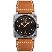 Bell And Ross Br0392 St G He Sca Men's Golden Heritage Leather Strap Watch Tan Black