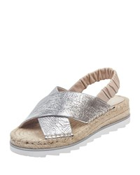 Marc Fisher Pella Suede Espadrille Sandals Silver