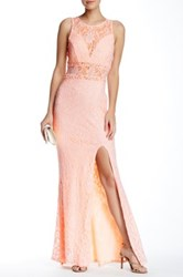 City Triangles Glitter Sheer Lace Maxi Gown Pink