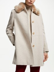 John Lewis Detachable Fur Collar Coat Oatmeal