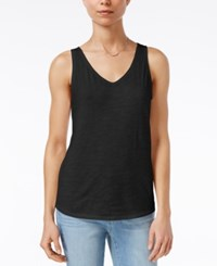 Maison Jules Cotton V Neck Tank Top Only At Macy's Deep Black