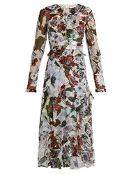 Erdem Meg Silk Voile Ruffle Trimmed Dress White Print