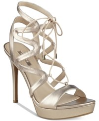 Guess Women's Aurela Strappy Lace Up Platform Dress Sandals Women's Shoes Taupe