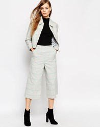 Asos Wide Leg Culotte In Check Co Ord Greyblue