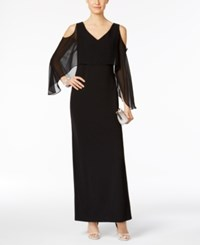 Connected Cape A Line Gown Black