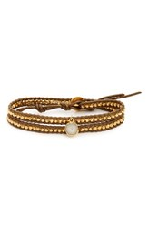 Chan Luu Women's Double Wrap Leather Bracelet Kansa Gold