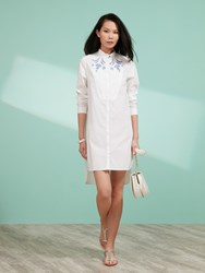 Shanghai Tang Long Shirt Dress With Embroidery White
