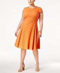 Alfani Plus Size Lace Fit And Flare Dress Only At Macy's Brushed Coral