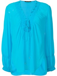Roberto Cavalli Laced Neck Blouse Silk Blue