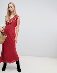 Intropia Western Maxi Dress In Spot Print Red Print