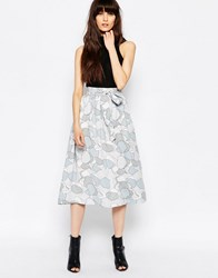 Selected Ruba Midi Skirt In Lunar Rock Print Gray