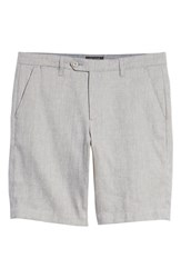 Ted Baker London Newshow Flat Front Stretch Cotton Blend Shorts Grey