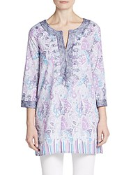 Calypso St. Barth Hester Paisley Embroidered Tunic Lavendar