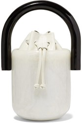 Cult Gaia Olivia Acrylic And Leather Bucket Bag White