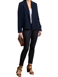 Pure Collection Silk Linen Cropped Trench Jacket Navy
