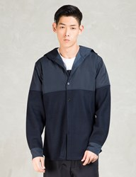 Still Good Navy Wool Nylon Hooded Shirt Jacket