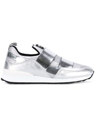 Hogan Rebel Metallic Slip On Sneakers Women Cotton Calf Leather Leather Rubber 38 Grey
