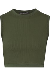 Live The Process Circular Cropped Ribbed Stretch Supplex Top Army Green