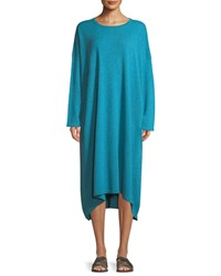 Eskandar Smaller Front Larger Back Long Sleeve Cashmere Dress Turquoise