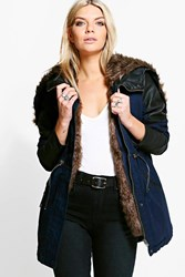 Boohoo Faux Fur Lined Parka Navy
