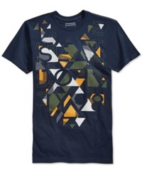 Sean John Visual Glow Graphic Print T Shirt Navy