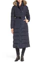 Kors Women's Michael Faux Fur Trim Belted Down And Feather Fill Maxi Coat Navy