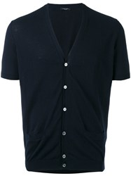 Roberto Collina Short Sleeve Cardigan Men Cotton 52 Blue