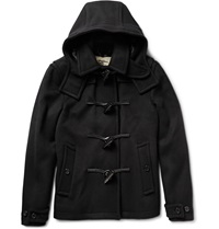 Burberry Leather Trimmed Wool Coat Black