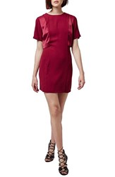 Petite Women's Topshop Satin Overlay A Line Dress