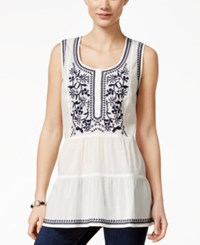 Styleandco. Style And Co. Petite Sleeveless Embroidered Peasant Blouse Only At Macy's Glrietta White